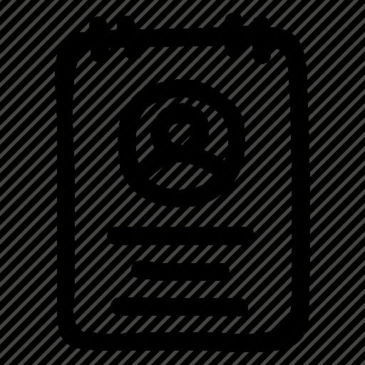 account, cv, document, identity, profile icon