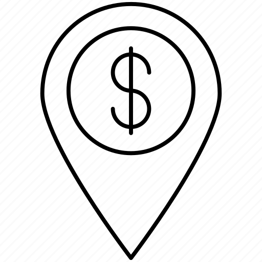 dollar, location, marker, pin icon