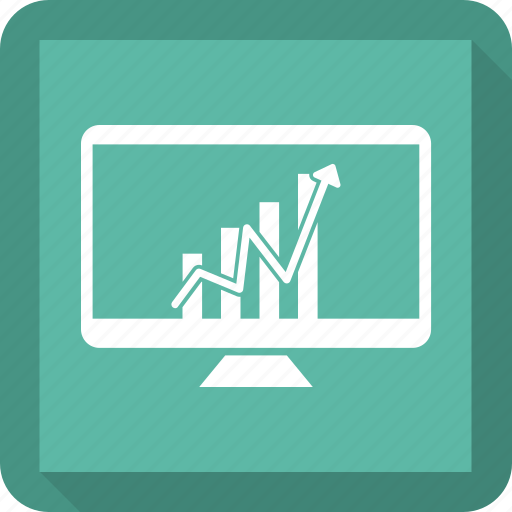 analytics, arrow, graph, grow, growth, monitor icon