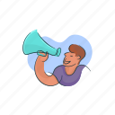 announcement, business, marketing, megaphone, newsletter icon