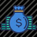 coins, finance, money, sack