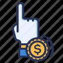 click, finger, pay, per icon