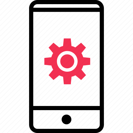 cell, gear, options, phone icon