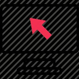 arrow, computer, screen icon