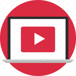computer, play, screen, youtube icon