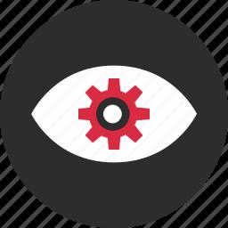 eye, find, gear, search icon