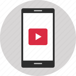cell, phone, play, screen, youtube icon