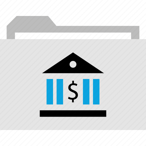 bank, business, file, folder icon