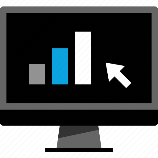 arrow, bars, data, point icon