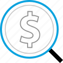 dollar, find, look, money icon