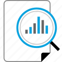 data, graph, report, search icon