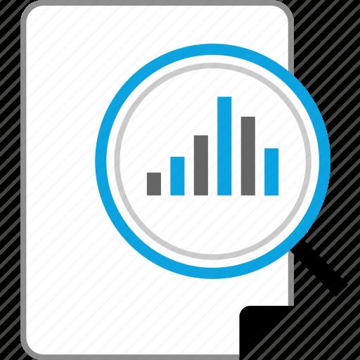 data, graph, report, search icon