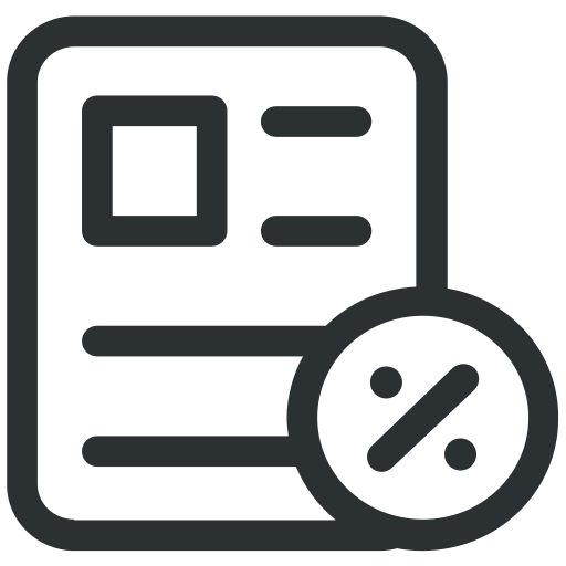 check, cheque, discount, document, paper, percent, receipt icon icon