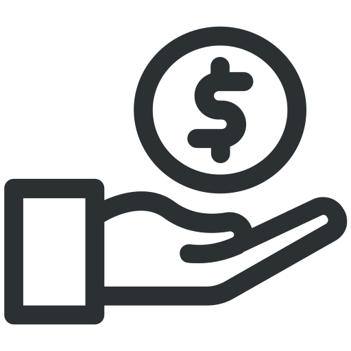 coin, dollar, funds, hand, payment icon icon