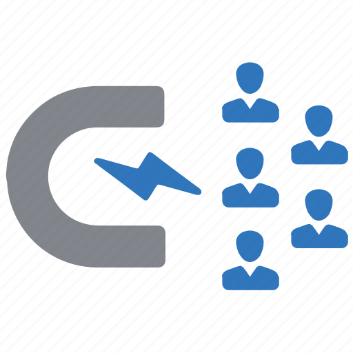 attracting, attraction, client, customers, magnet icon