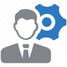 business, gear, man, settings icon