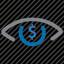 analytics, dollar, eye, report, sales, view icon