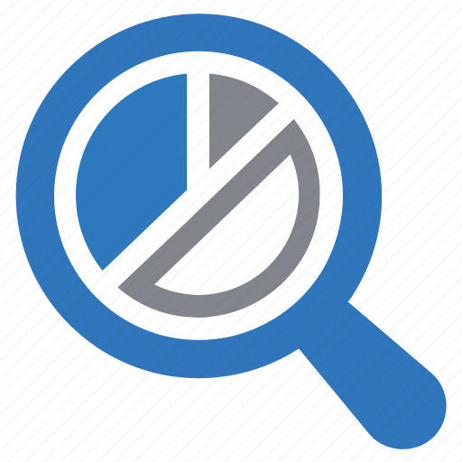 analysis, graph, pie chart, report, research, search icon