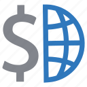 business, dollar, exchange, finance, global, money icon
