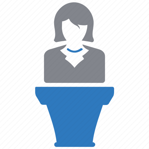 business, businesswoman, conference, meeting, presentation icon