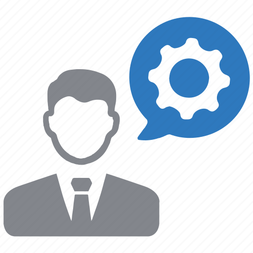 businessman, gear, management, manager, specialist, work icon