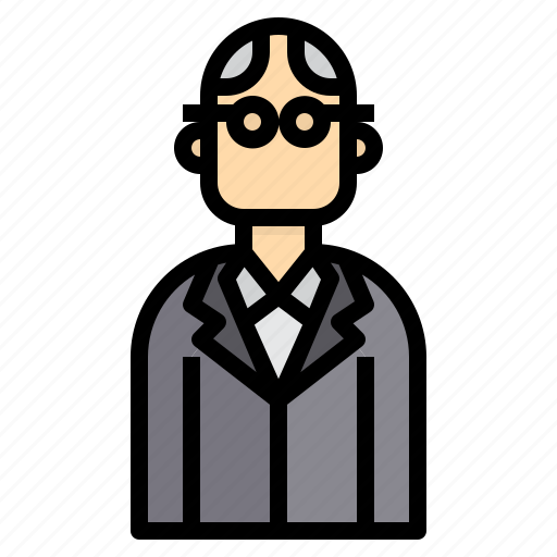 avatar, business, glabrous, glasses, man icon