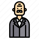 avatar, business, glabrous, man, professor icon