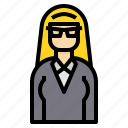 avatar, business, glasses, hair, long, woman icon
