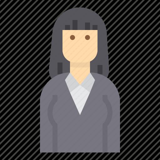 avatar, business, hair, long, woman icon