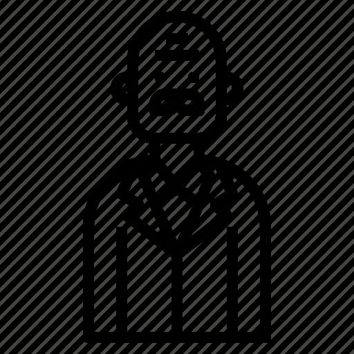 avatar, business, glabrous, man, professor icon