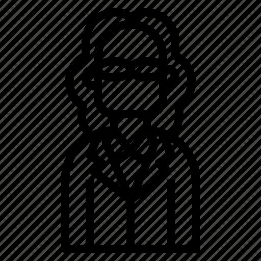 avatar, business, hair, long, man, profile icon