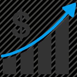 biz chart, graph, grow, money, sales analysis, statistics, success story icon