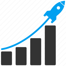 chart, graph, launch, rocket, sales, startup, stock icon