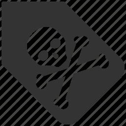 black label, death, pirate, print, skull, stamp, tag icon