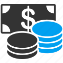 cash, banknote, coins, dollar, finance, money, bank
