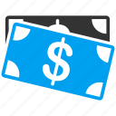 banknotes, cash, dollar, finance, financial, money, payment icon