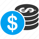 cash, coin, coins, dollar, finance, gold, money icon