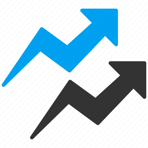 arrow, chart, graph, report, statistics, stock, trends icon