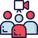business, conference, link, online, video icon