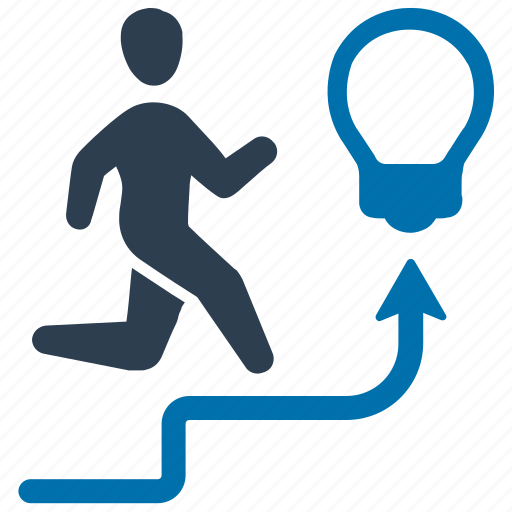 business, running, stairs, success, up icon