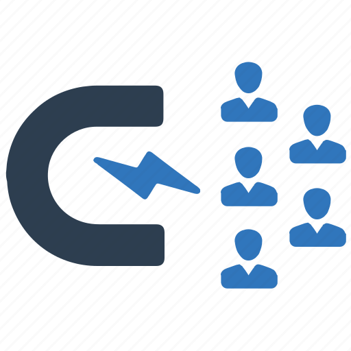 attraction, customers, social engagement icon
