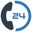 24, business, hours, service, support, telephone icon