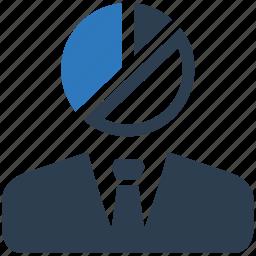 analytics, businessman, pie chart icon
