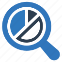 analytics, pie chart, report, search, statistics icon