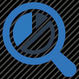 analytics, pie chart, report, search, statistics icon