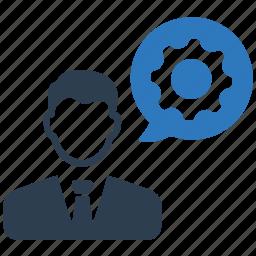 businessman, gear, job, settings, specialist icon