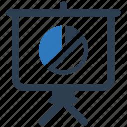 business report, graph, pie chart, presentation icon