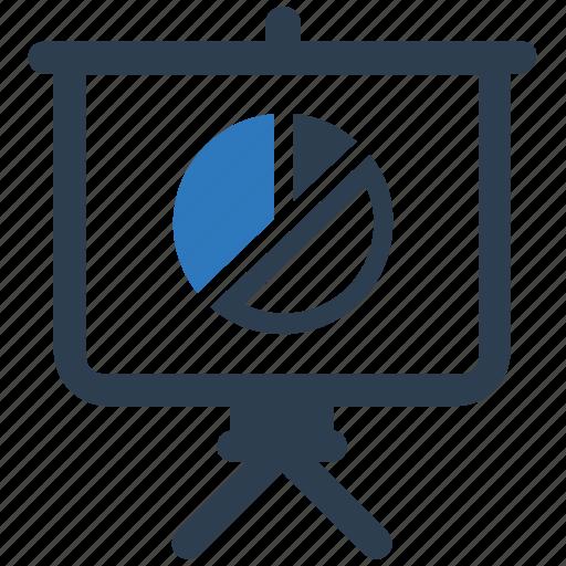 business report, pie chart, presentation icon