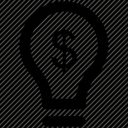 bulb, business idea, creativity, dollar power, dollar sign, electric bulb icon