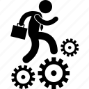 business, employee, hard, hard working, on the move, progress, working icon